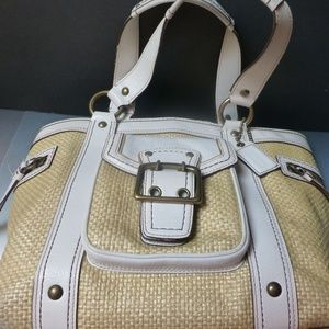 COACH LEGACY straw white leather cruise tote bag